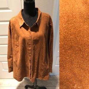 Catherines Faux Suede Button Down Shirt
